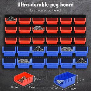 30 X Plastic Bins Wall Mounted Storage Garage Tool Small Parts Organizer Rack UK