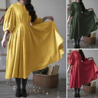 ZANZEA UK Womens 3/4 Sleeve Cotton Midi Dress Ladies Casual Loose Tunic Dresses