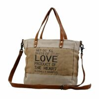 Myra Bag SUSTAINABLE ORGANIC FABRIC MARKET BAG Jute Shoulder Strap LOVE Graphics
