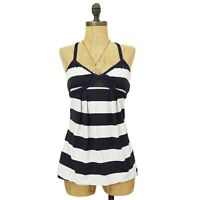 Lululemon Tankini Swim Top Size 4 Shelf Bra Cross Back Blue White Striped EUC B3