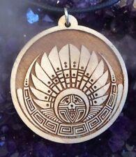 "Mayan Head Dress Necklace Silbury Hill Pendant 1.75""  Maple Wood USA Made #Gift"