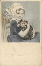 A/S PC M.M. Vienne 296 cute girl with cat in dutch style 1911