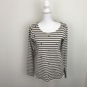 Maison Scotch Punk Radar Womens Shirt Sz 2 NWT Black White Stripes Star Studs