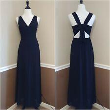 NWT Black Maxi Dress M Flowy Chiffon w Open Back & Bow Modcloth by Ya