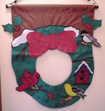 "EVERGREEN FLAG 30"" x 36"" NYLON CHRISTMAS WREATH APPLIQUE BANNER"