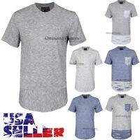 Men Long T-Shirt Extended Casual Short Sleeves Crew Neck Hip Hop Longline Tee