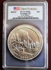 2010-P YOSEMITE NP ATB 5 OZ. SILVER COIN- PCGS HIGH GRADE (FIRST STRIKE) SP-69