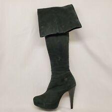 Steve Madden Black Leather Platform Side Zip Over The Knee Fashion Boots Size 7