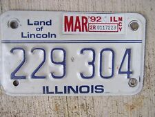1992 Illinois Motorcycle License Plate 229 304 MORE PLATES IN OUR STORE  G