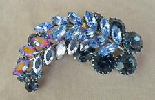 Vintage Silvertone Blue Aurora Borelis Rhinestones LEAVES Shape Pin Brooch