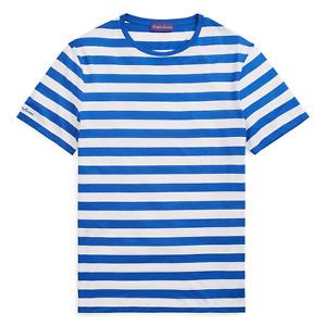 Ralph Lauren Purple Label Slim Blue White Striped Lisle Crew Neck T Tee Shirt