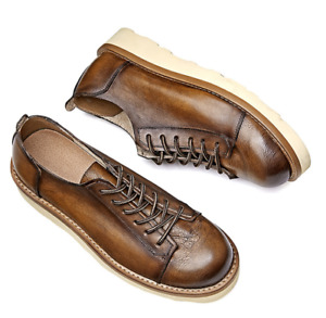 British Mens Real Leather Business Leisure Shoes Work Office Round Toe Lace up L
