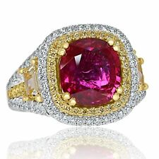 GIA 4.60 Ct Mozambique Unheated Red Ruby Diamond Engagement Ring 18k White Gold