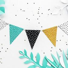 Spotted Dinosaur Party Garland Bunting 1.3m Green White Black Mustard