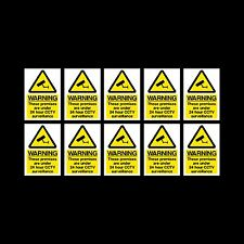 CCTV Sign, Sticker Pack of 10 - 100mm x 150mm (A6) - Security, Camera - (MISC12)