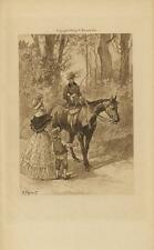 ANTIQUE WOMAN EQUESTRIAN HORSE RIDER VICTORIAN GIRL SON PATCHES PANTS ART PRINT