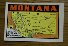 ORIGINAL VINTAGE TRAVEL DECAL MONTANA STATE MAP ROAD TRIP SOUVENIR OLD MOUNTAINS
