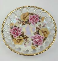 Vintage Royal Sealy China Japan Lusterware Reticulated Floral Saucer Plate Roses