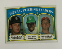 1972 Topps AL Pitching Leaders # 94 Baseball Card Mickey Lolich Vida Blue