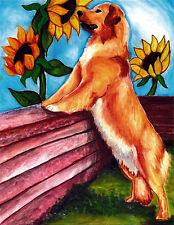 GOLDEN RETRIEVER SUNFLOWERS Dog Art Print of Original Painting Artwork by VERN