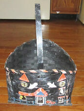 "Halloween Wicker Basket Black w/ Witch Ghosts & Pumpkins 16"" Candy Home Decor"