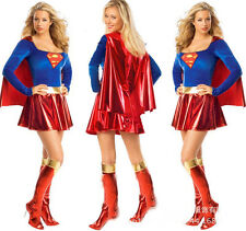 Sexy Woman's Superhero Fancy Dress Halloween Supergirl Superwoman Outfit Costume