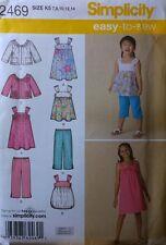 UNCUT Simplicity 2469 Easy to Sew Girl's Dress, Top, Capris, Jacket 7 8 10 12 14