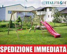 Altalena con Scivolo da Giardino per Bambini in Legno d'Abete - Italfrombaby06