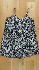 Fab Ladies Boohoo Beige Black Mix Leopard Print Strappy S'Less Playsuit, Size 8