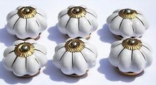 6 x Cream flower Star lines (Brass) Ceramic Knobs Pulls Handles drawer Cabinet