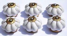 Crema Fiore Stella linee (Ottone) Ceramica Manopole Tira Le Maniglie Cassetti Armadietto x 6