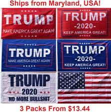 3' x 5' Trump Flag - Make / Keep America Great Again MAGA, No More BS, 2020 Red