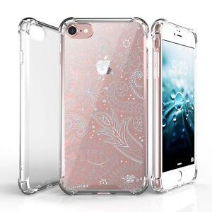 """For  iPhone SE,7,8 (4.7"""") Slim Bumper Shockproof Case White Florals"""