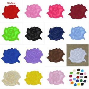 5 Pcs DIY Roses flowers Embroidered Cloth Iron On Patches Sewing Motif Applique