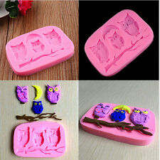Silicone 3D Owl Fondant Mould Cake Decor DIY Candy Baking Chocolate Soap Mold TO