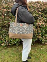 Orla Kiely Grey Multi Stem Fabric Soft Genuine Leather Shoulder & Handbag