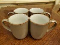 Dansk Plateau Khaki Set Of 4 Mugs Coffee Cups 12 Ounce Tan / Cream LOOKS NEW!