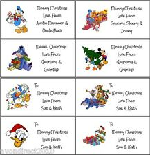 21 PERSONALISED DISNEY CHRISTMAS LABELS - GIFT TAGS - STICKERS - SELF ADHESIVE