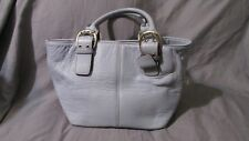 Tignanello Periwinkle Blue Cobblestone Leather Silver Accent Hobo Handbag Purse