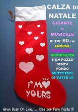 NATALE CALZA GIGANTE I am YOUR LOVE 60cm con CANZONCINA MUSICA e DOLCI COCCOLE