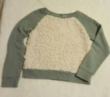 Tucker & Tate Girls L 10/12 Gray Sweater Ivory Faux Fur Front