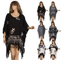 Tunika XXL Kaftan Bluse gedruckt Übergröße Lagenlook Poncho 52 54 56 58 60 BoHo