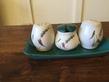 Vintage Denby Greenwheat Cruet Set. Mustard Pot, Salt & Pepper