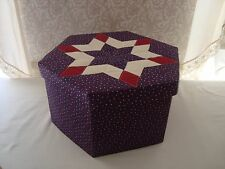 VTG Hat Box Fabric Covered Calico Cloth Quilted Lid Hexagon Handcrafted Country