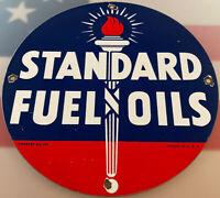 VINTAGE STANDARD GASOLINE PORCELAIN SIGN GAS STATION MOTOR OIL PUMP PLATE FUEL