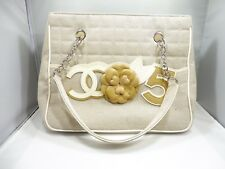 FUN CHANEL BAG HANDBAG WITH ATTACHED LEATHER FLOWER AND SIGNATURE LOGO