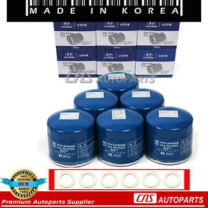 Oil Filters w/ Washers 6PCs GENUINE For Hyundai Accent Elantra Sonata Kia Optima