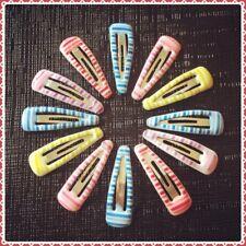 12 Pcs Multi Colour Stripes Baby Toddler Mini Snap Hair Clips 3cm Fringe Holder