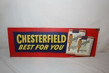 "Vintage 1950's Chesterfield Cigarettes Tobacco Gas Oil 34"" Embossed Metal Sign"