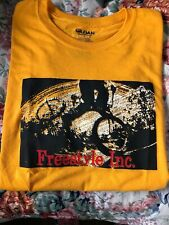 Freestyle Inc. Men's T Shirt Size L Orange With Black, White, Red Logo